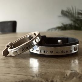 Vader & Kids Tekst Armbanden | met kids armband CountryGrey
