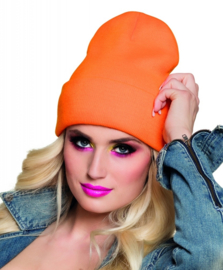 Beanie neon oranje muts