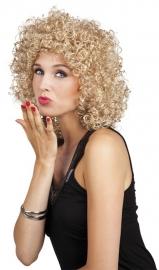 Pruik krullend lang blond