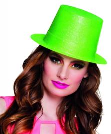 Hoge hoed glitter Neon groen