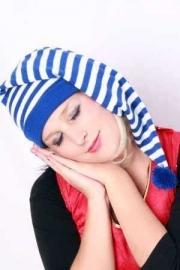 Slaapmuts blauw/wit
