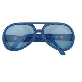 Glitter bril disco blauw