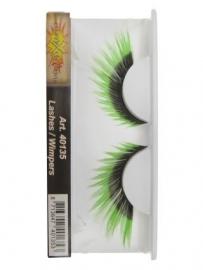 Wimpers zwart + fluor groen punten
