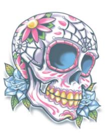 Doodskop bloem tattoo