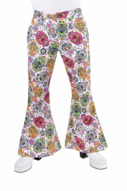 Disco broek mexican skulls heren