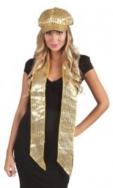 Sjaal/hoofdband goud pailletten