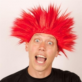 Pruik Electric shock rood