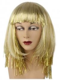 Blonde pruik met gouden glitters