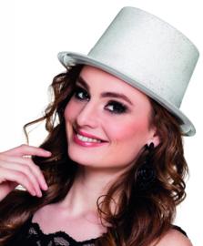 Hoge hoed glitter wit