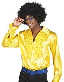 Gele disco roezel blouse