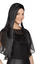 Pruik charming lang zwart