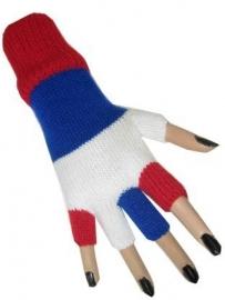 Vingerloze handschoen rood / wit / blauw