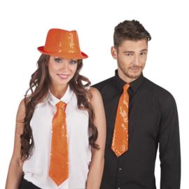 Stropdas pailletten oranje