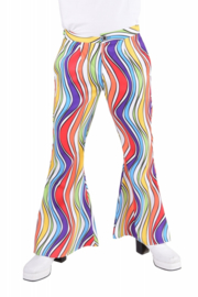 Disco broek rainbow waves heren