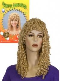 Pruik lang krullen blond