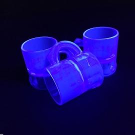 Shotglaasjes 2,5cl. fluor blauw 10 stuks