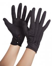 Zwarte handschoenen met drukknoop