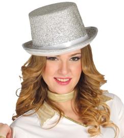 Zilveren hoge hoed vilt