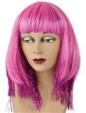 Pruik met lametta glitter roze