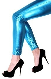 Metallic legging turqoise