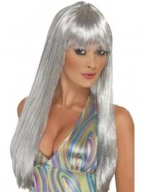 Pruik lang Glitter zilver