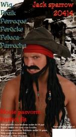 Piraat zwart set pruik
