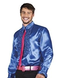 Blauwe disco roezel blouse