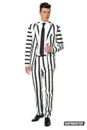 Striped black and white suitmeister kostuum