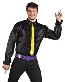 Zwarte disco roezel blouse