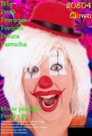 Clown pruik touwtjes wit