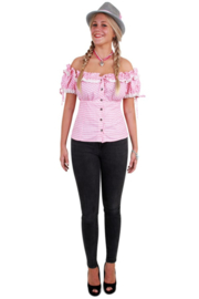 Tiroler blouse dames roze wit