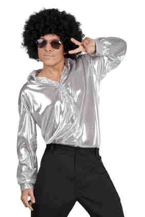Disco blouse glimmend Zilver