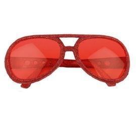 Glitter bril disco rood