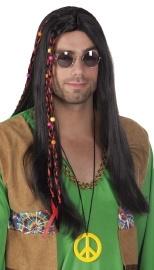 Zwarte pruik Hippie man