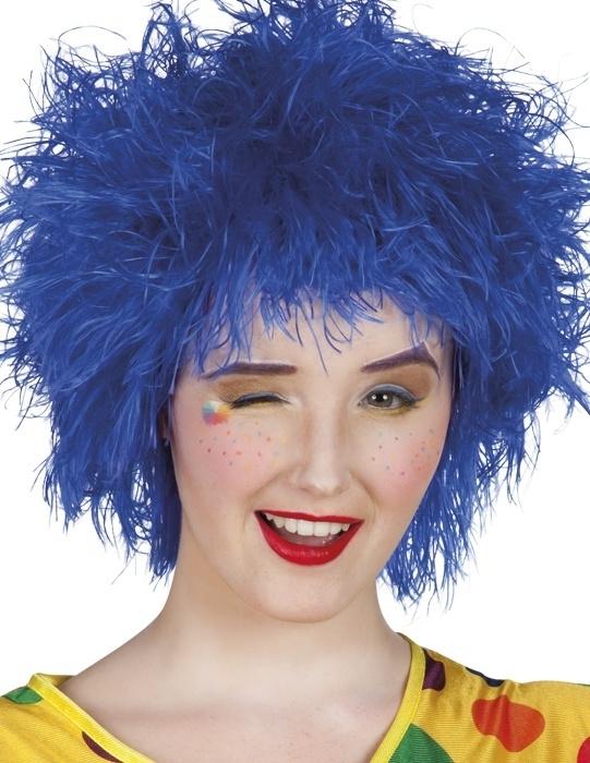 Clown pruik touwtjes blauw