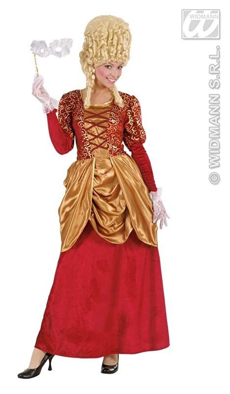 Markiezinnen jurk fluweel rood met goud
