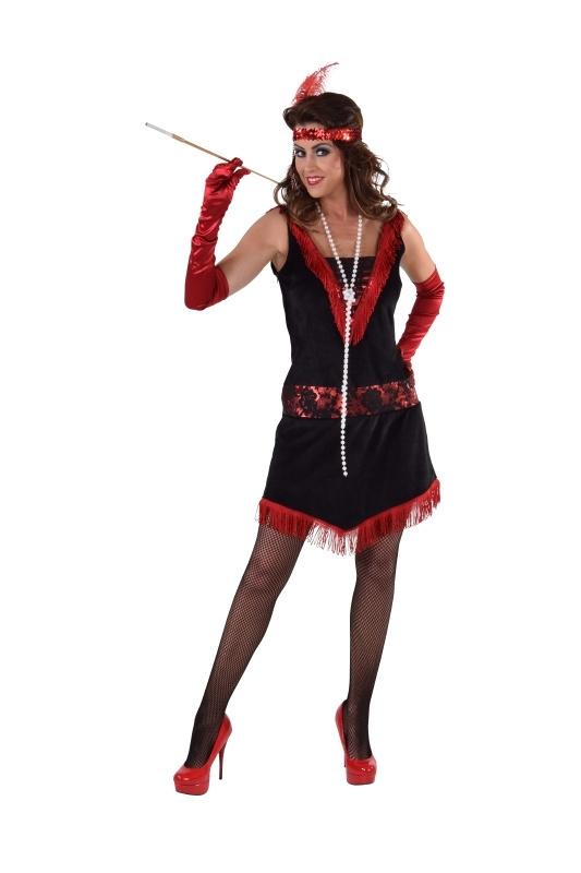 Charleston jurkje rood en zwart