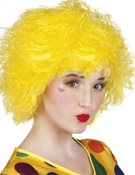 Clown pruik touwtjes geel