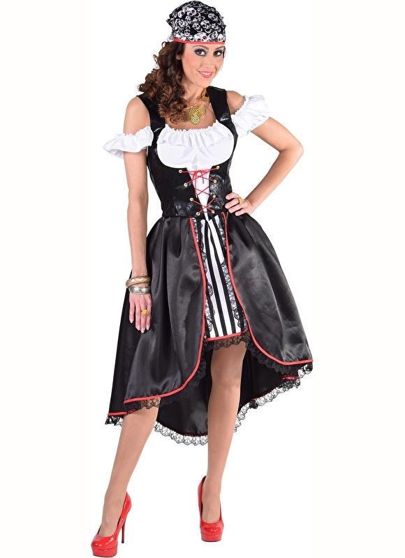Piratendame zwart en wit jurk