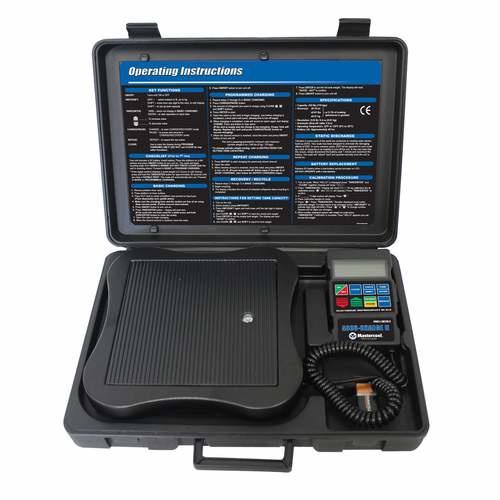Mastercool weegschaal in koffer met LCD uitleesunit schakelt uit na 180 minuten geschikt tot 110 kg, 98210-A