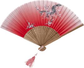 Waaier  Zijde, bloem 21 cm Red