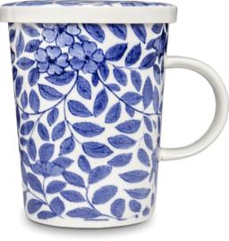 Theebeker met filter Planten blauw  Ø9,5 cm | H11 cm