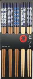 Eetstokjes Bamboe Blauwe patronen