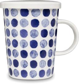 Theebeker met filter Stippen blauw  Ø9,5 cm | H11 cm