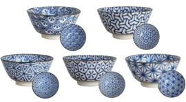 Old Nippon Blue Pattern Geometric 15x6,8cm kommen set