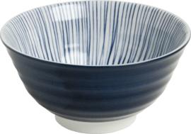 Ribbels Strepen patroon Japans blauw  Ø13 cm
