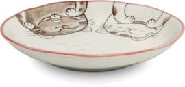 Drie katten bord  rood 17x15 cm | H4 cm