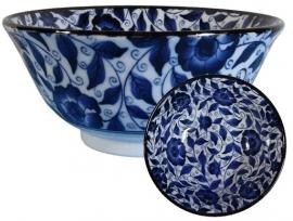 Rijstkom Blauwe bloemen met krullen 7.5 x 15 cm