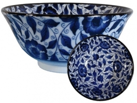 Ricebowl blue flowers with shavings 7.5 x 15 cm
