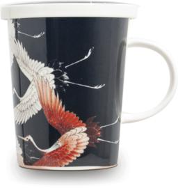 Theekop met filter - Zwarte kraanvogel Ø9,5 cm | H11 cm